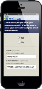 A mobile-friendly polltogo poll to take attendance